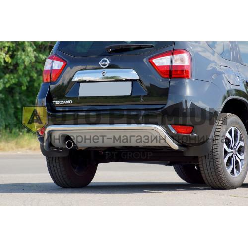 Защита заднего бампера Ø51 мм (НПС) на Nissan Terrano с 2014 на автомобиль
